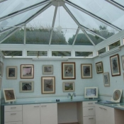 The beautiful glass roof allowing all the natural light an artist needs to paint